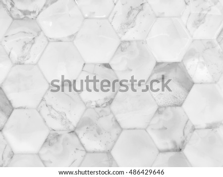 Hexagonal marble cut wall texture surface. Abstract pattern background.
