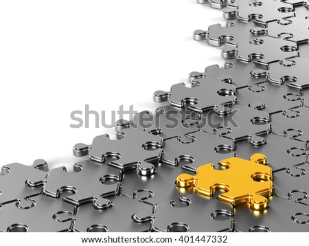 Hexagonal puzzle with gold piece. 3d rendered illustration.