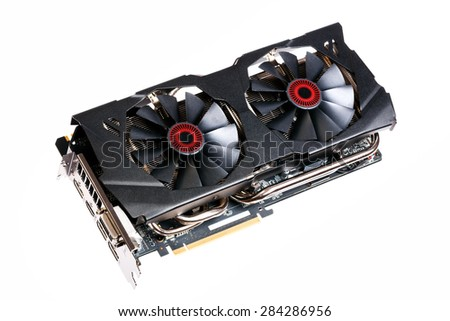 Hi-End (Hi-Fi) computer graphic (video) card isolated on white. - stock photo