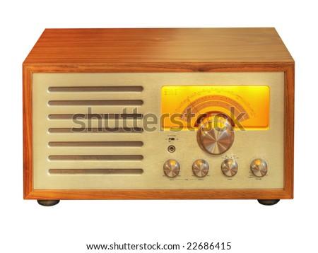 Hi-Fi Electron Tube Wood Radio - stock photo