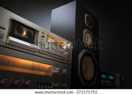 hi-fi receiver and tape deck recorder - stock photo