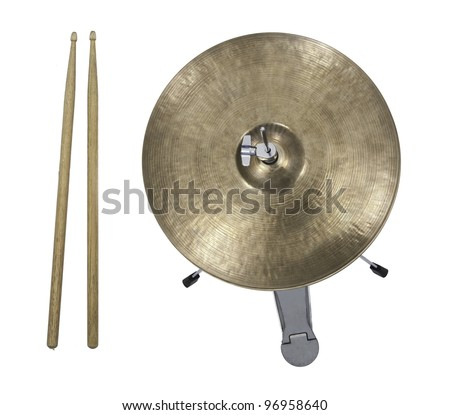 Hi-Hat Cymbal and drumsticks from top - stock photo
