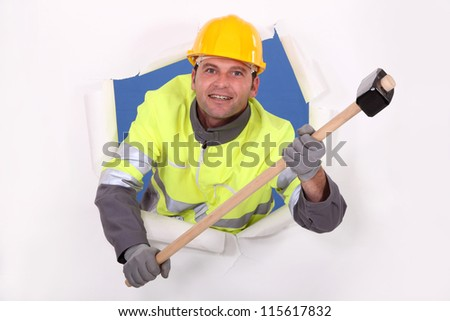 Hi!!! I'm the guy with a hammer - stock photo