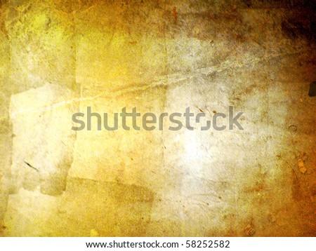 hi-res gold grunge background, raster illustration - stock photo