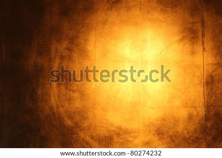 Hi-res golden wall background with reflection - stock photo