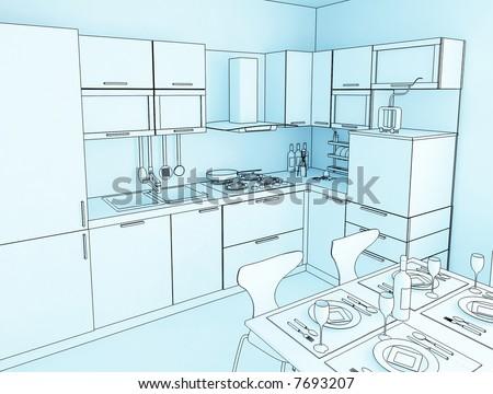 Kitchen cabinet door stock illustrations cartoons for Cartoon kitchen cabinets
