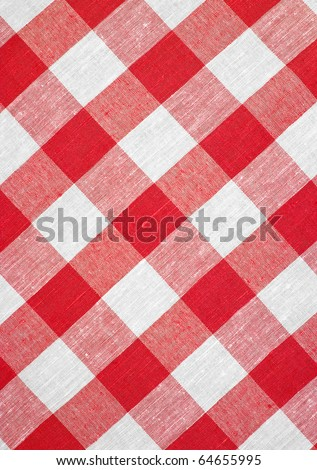 hi res red checked fabric tablecloth - stock photo
