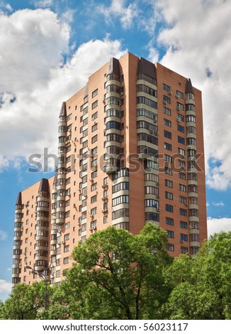 Hi-rise apartment building on Moscow street - stock photo