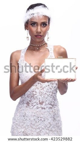 Hi Society Lady in White Lace Gown with Tiara holding Blank Empty white board Gold edge. Isolated, sale concept - stock photo
