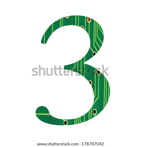 Hi-tech circuit board alphabet. number 3 - stock photo