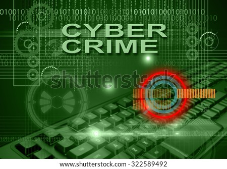 hi tech infographics of cyber crime made in 3d software - stock photo