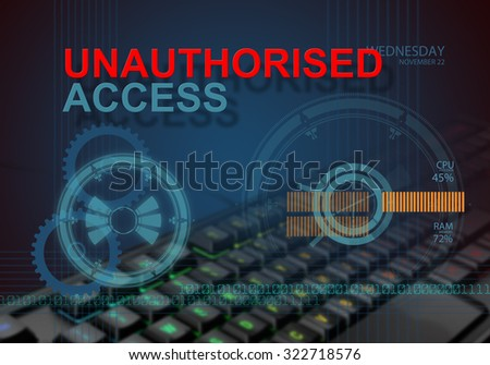 hi tech infographics of unauthorised access made in 3d software - stock photo