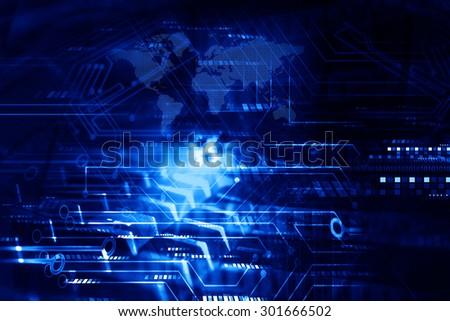 Hi-tech technological background - stock photo