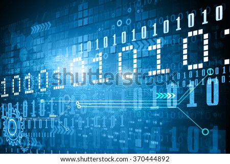 Hi-tech technological background. Binary stream 	 - stock photo