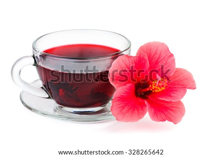 Hibiscus flower and tea isolated on white background - stock photo