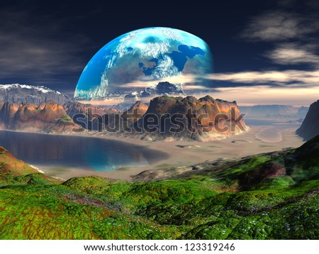Hidden Cove on Distant Planet - stock photo