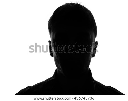 Hidden face in the shadow.male person silhouette - stock photo