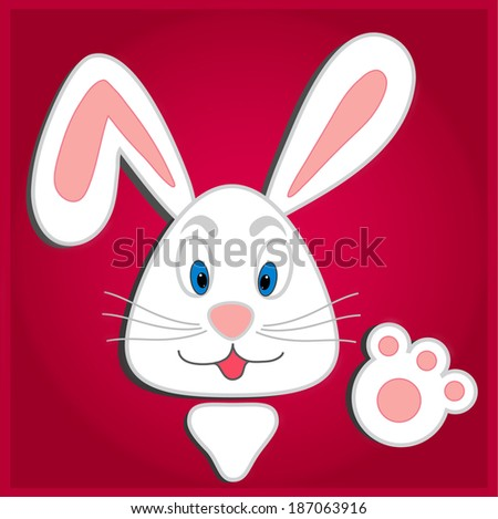 Hiding Easter Bunny card - stock photo