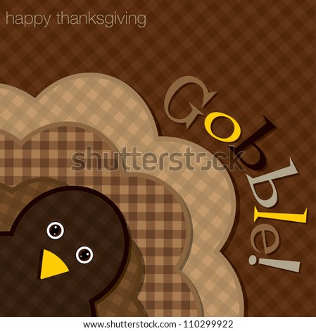 Hiding turkey plaid Thanksgiving card in vector format. - stock photo