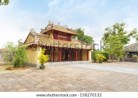 Hien Duc Gate at Minh Mang tomb - The Imperial City of Hue, VIetnam - stock photo