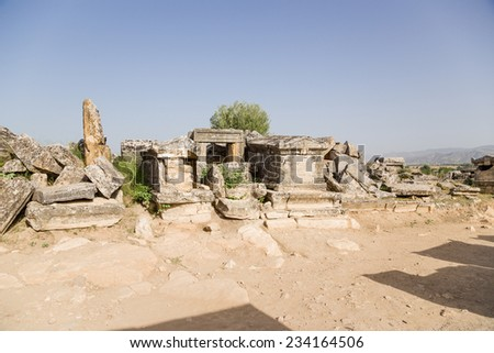 Hierapolis (Pamukkale), Turkey. The ruins of the ancient burial structures in the necropolis, 2nd century BC - 15th century AD - stock photo