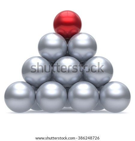 Hierarchy pyramid leader sphere ball corporation red top order leadership element teamwork group business concept shiny sparkling white chrome. 3d render isolated - stock photo