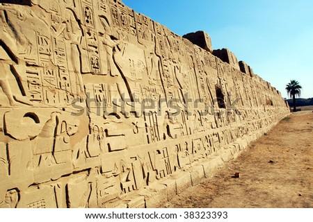 Hieroglyph writings of ancient Egyptians - stock photo