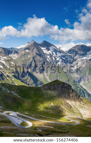 High Alpine Road - Grossglocknerstrasse. - stock photo