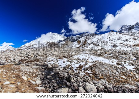 High altitude mountain scenery in Himalaya - stock photo