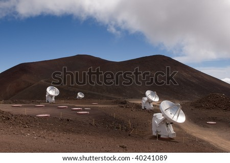 High altitude radio astronomy telescopes, part of the Sub-Millimeter Array, atop the summit of Mauna Kea volcano, Big Island, Hawaii - stock photo
