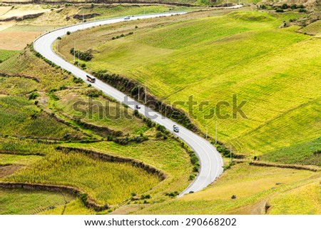 HIGH ALTITUDE ROAD IN ECUADOR CROSSING AGRICULTURAL LANDSCAPE