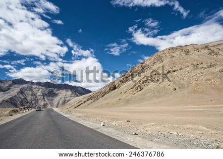 High altitude road in mountains , leh ladakh , India - stock photo