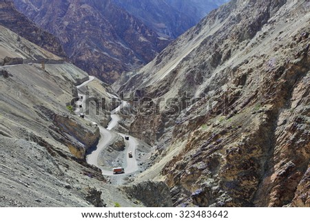 High-altitude road in the Himalayas - Ladakh, Jammu & Kasmir, India - stock photo