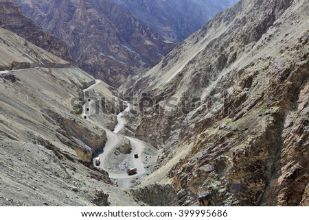 High-altitude road in the Himalayas - Ladakh, Jammu & Kasmir, India