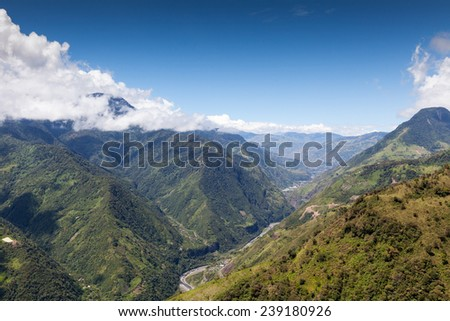 HIGH ALTITUDE SHOT OF PASTAZA VALLEY IN ECUADOR, LLANGANATES NATIONAL PARK ON THE RIGHT AND TUNGURAHUA VOLCANO ON THE FAR LEFT, FULL SIZE HELICOPTER  - stock photo