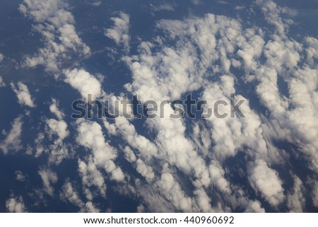 High altitude view between sky and atmosphere   - stock photo