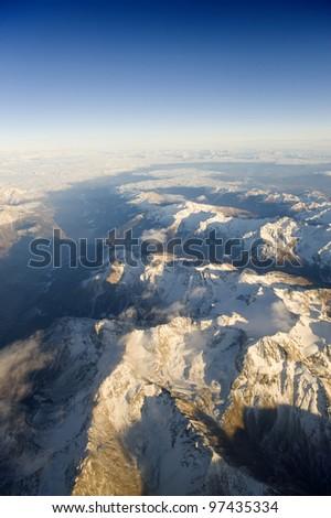 High altitude view of mountains. The Italian Dolomites - stock photo