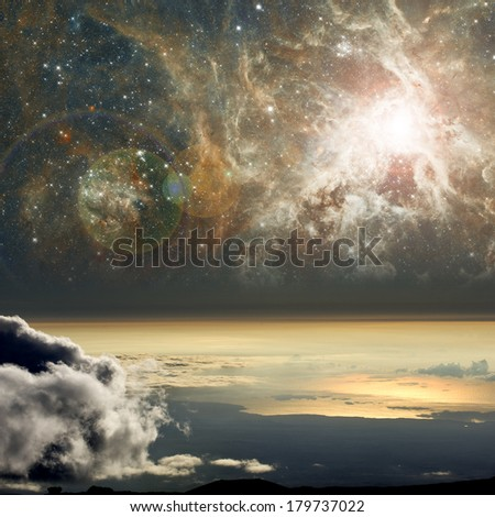 High altitude view of space. Elements of this image furnished by NASA.  - stock photo