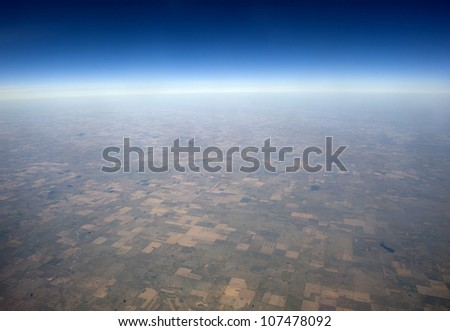 High altitude view of the Earth in space. The Great Plains in the western United States. - stock photo