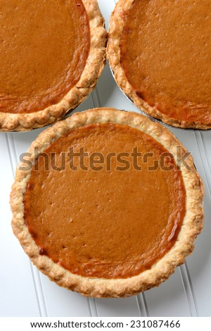 High angle closeup of three fresh baked pumpkin pies. The traditional American dessert - Pumpkin, pie is a Thanksgiving staple. Vertical format. - stock photo