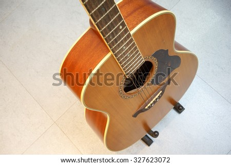 High angle Guitar - stock photo