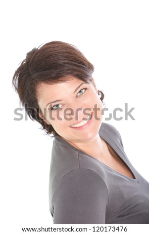 High angle head and shoulders portrait of a pretty smiling woman looking up at the camera isolated on white - stock photo