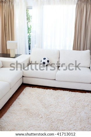 High angle of a living-room with a white couch - stock photo