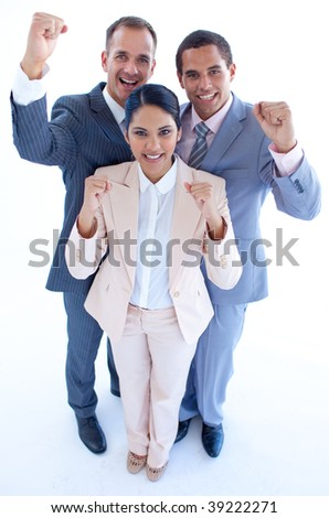 High angle of happy business team celebrating a success with arms up - stock photo