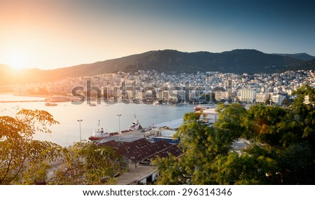 High angle panoramic view of Kavala, Northern Greece at sunset