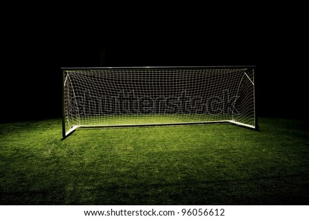 High angle photo of Soccer Goal or Football Goal - stock photo