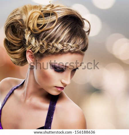 High angle portrait of beautiful woman with  hairstyle - modern fashion background - stock photo