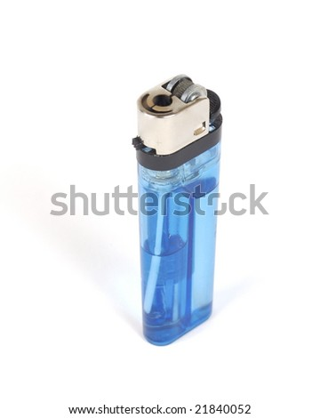 High angle shot of a translucent blue lighter with fuel visible. Shot with infinity white background - stock photo