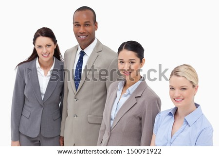 High angle shot of business people smiling against white background - stock photo