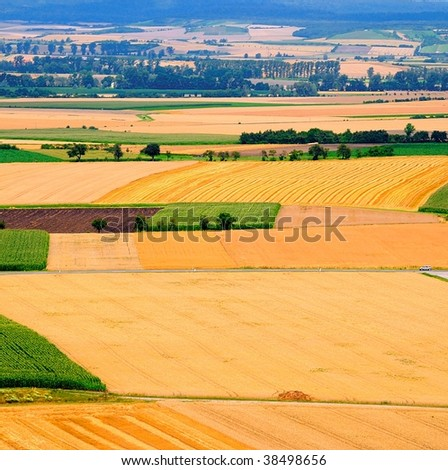 High-angle shot of rural landscape - stock photo